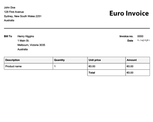 free euro invoice template online invoices