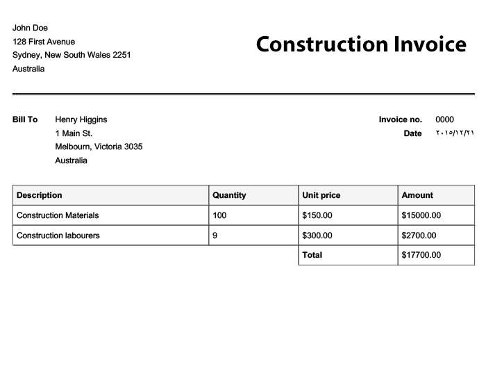 Free Invoice Templates Online Invoices - Construction invoice form free for service business