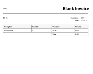 Blank Invoice Template  Tax Invoice Template