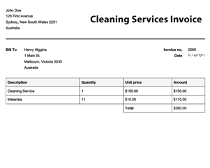 sample invoice for services